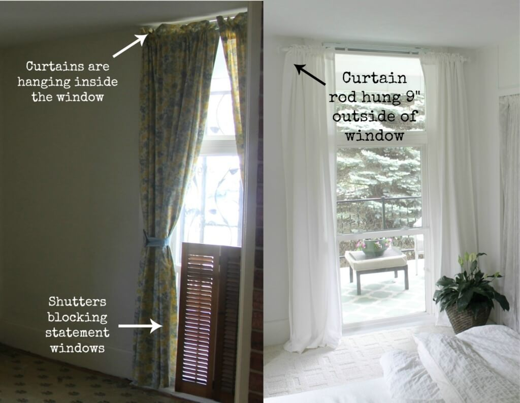 how to hang curtains to brighten room
