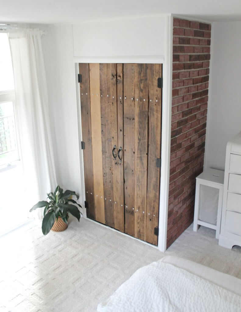 reclaimed wood doors - DIY Reclaimed Wood Closet Doors - The Definery Co
