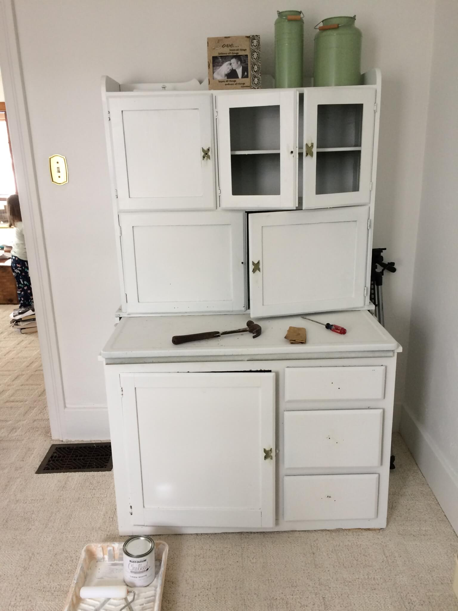 Hoosier Cabinet Makeover in the Office